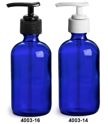 Blue Glass Bottles, Boston Round Bottles w/ Lotion Pumps