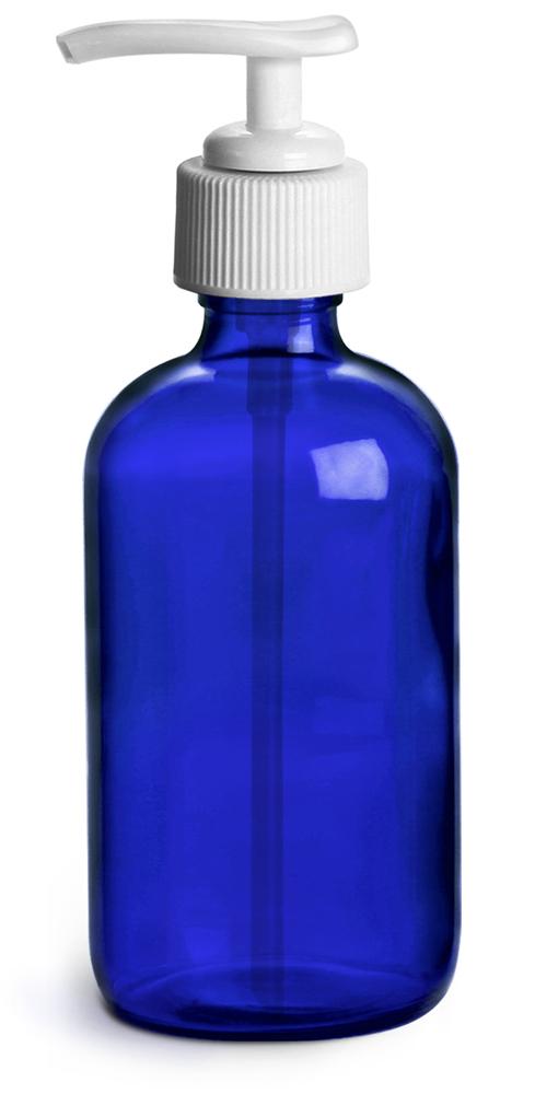 Blue Cobalt Glass Round Bottles w/ White Pumps