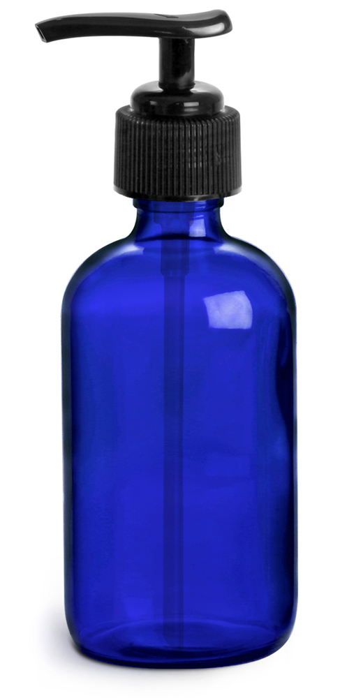 4 oz        Blue Cobalt Glass Round Bottles w/ Black Pumps
