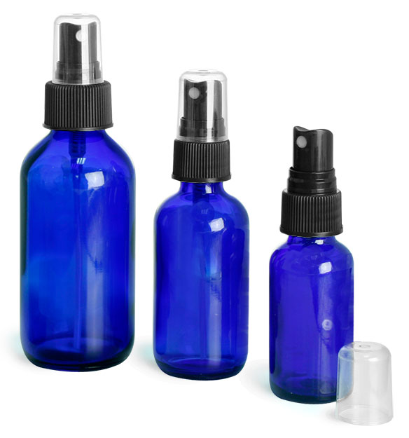 Blue Glass Bottles, Boston Round Bottles w/ Black Ribbed Fine Mist Sprayers