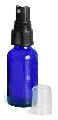 1 oz        Blue Glass Round Bottles w/ Black Fine Mist Sprayers