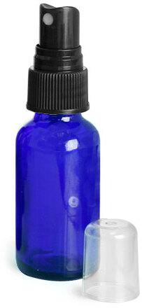 Blue Glass Round Bottles w/ Black Fine Mist Sprayers