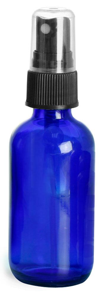 2 oz        Blue Glass Round Bottles w/ Black Fine Mist Sprayers