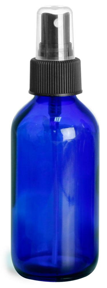 4 oz        Blue Glass Round Bottles w/ Black Fine Mist Sprayers