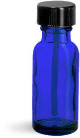 Blue Glass Round Bottles w/ Black PE Ball Rod Caps