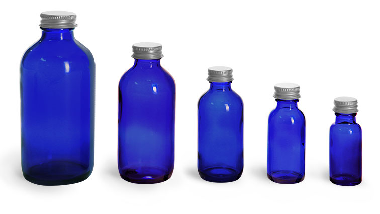 Blue Glass Bottles, Boston Round Bottles w/ Lined Aluminum Caps