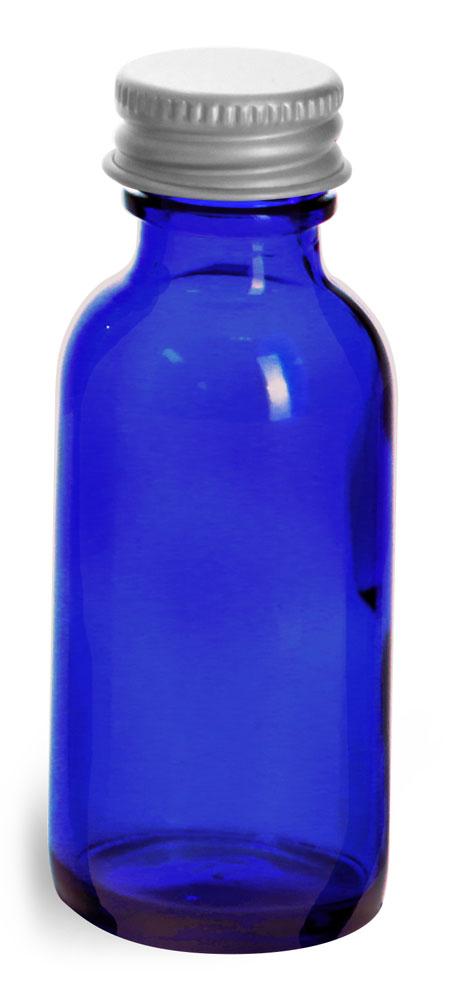 1/2 oz          Blue Cobalt Glass Round Bottles w/ Lined Aluminum Caps