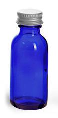 Blue Cobalt Glass Round Bottles w/ Lined Aluminum Caps