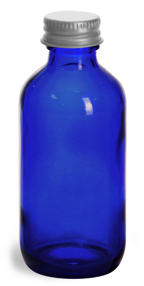 2 oz          Blue Cobalt Glass Round Bottles w/ Lined Aluminum Caps