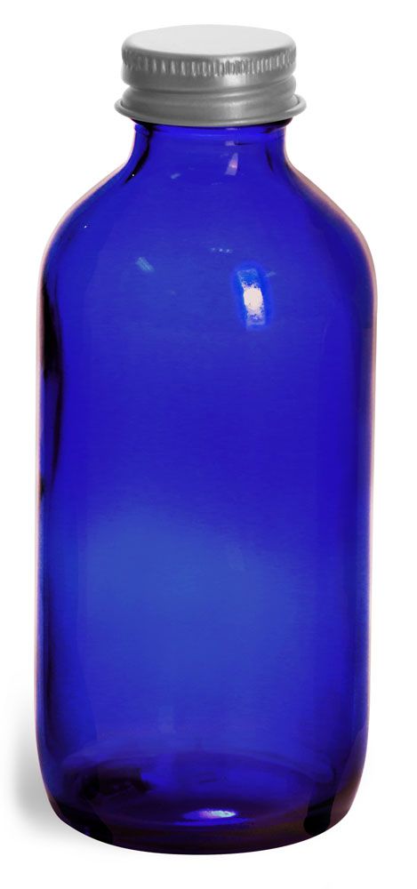 4 oz          Blue Cobalt Glass Round Bottles w/ Lined Aluminum Caps