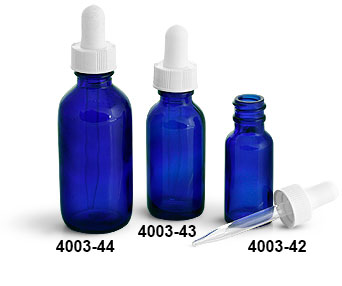 Glass Bottles, Blue Glass Boston Round Bottles w/ White Bulb Glass Droppers