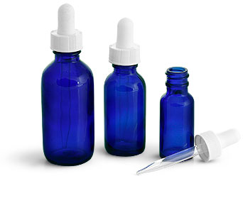 Blue Glass Bottles, Boston Round Bottles w/ White Bulb Glass Droppers
