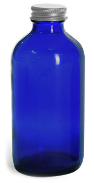 8 oz Blue Cobalt Glass Round Bottles w/ Lined Aluminum Caps