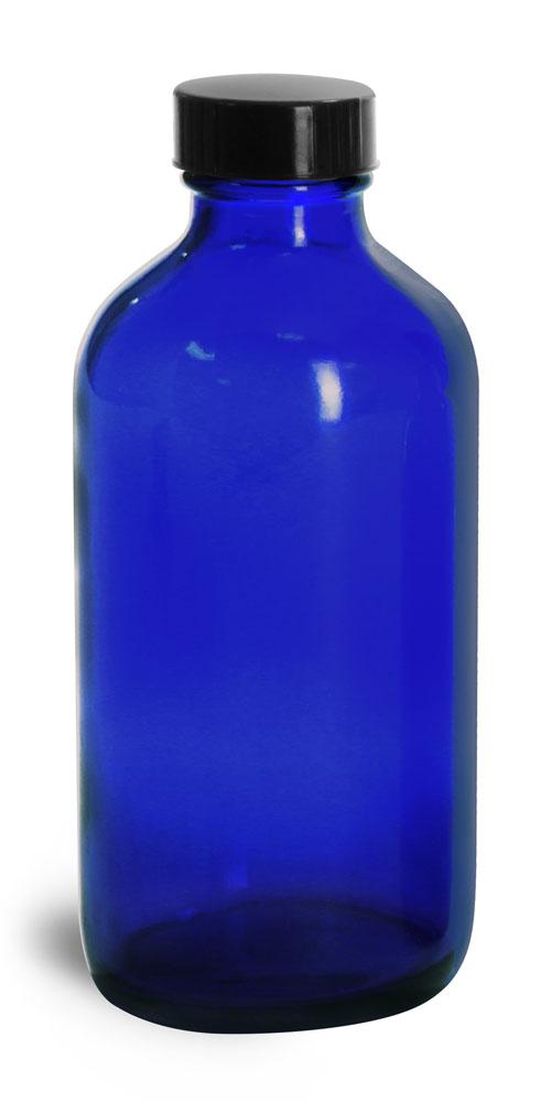 8 oz Blue Glass Round Bottles w/ Black Phenolic Cone Lined Caps