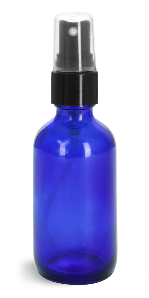 2 oz Glass Bottles, Blue Glass Boston Rounds w/ Smooth Black Fine Mist Sprayers