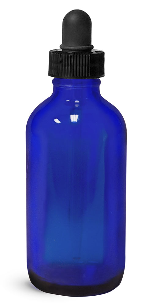 4 oz Blue Glass Boston Round w/ Black Bulb Glass Droppers