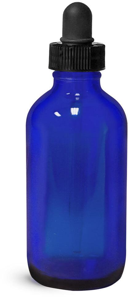 Blue Glass Boston Round w/ Black Bulb Glass Droppers