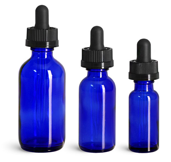 Blue Glass Bottles, Boston Round Bottles w/ Child Resistant Glass Droppers