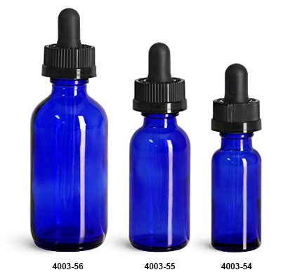Glass Bottles, Blue Glass Boston Round Bottles w/ Child Resistant Glass Droppers