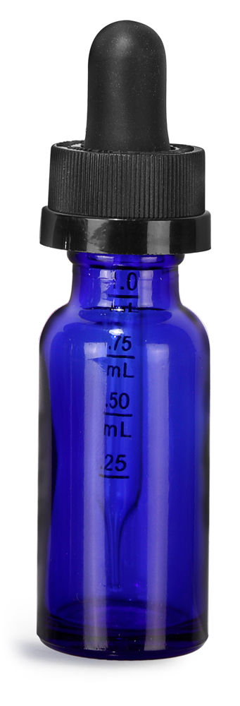 1/2 oz Blue Glass Boston Round Bottles w/ Child Resistant Graduated Glass Droppers