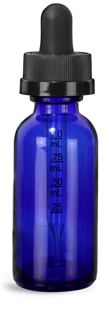 1 oz Blue Glass Boston Round Bottles w/ Child Resistant Graduated Glass Droppers