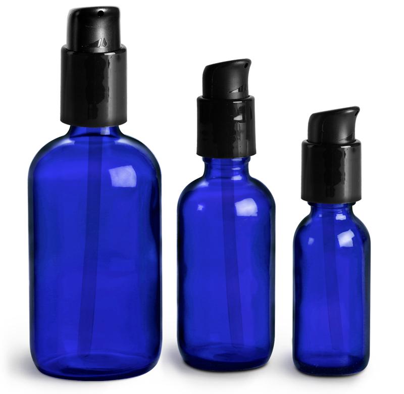 Blue Glass Boston Round Bottles w/ Black Treatment Pumps