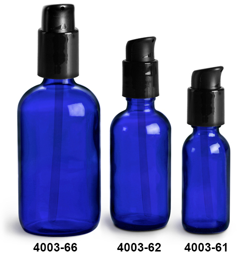 Glass Bottles, Blue Glass Boston Round Bottles w/ Black Treatment Pumps