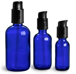Blue Glass Boston Round Bottles w/ Black Treatment Pumps