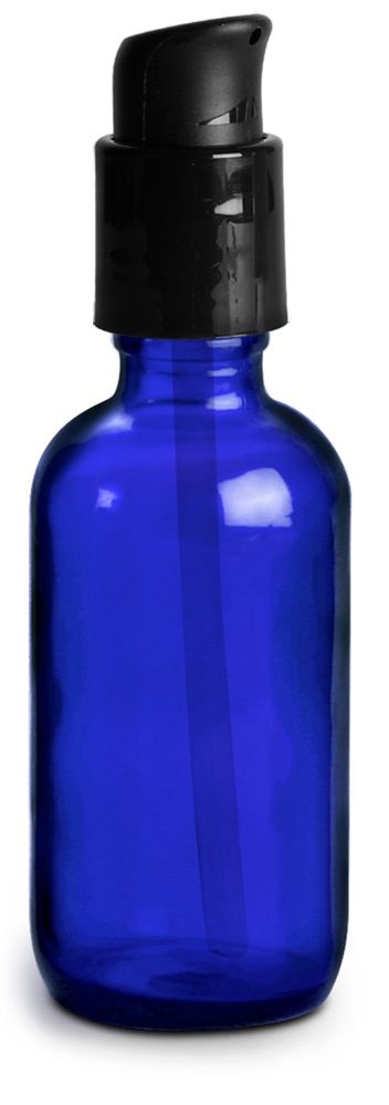 2 oz Glass Bottles, Blue Glass Boston Round Bottles w/ Black Treatment Pumps