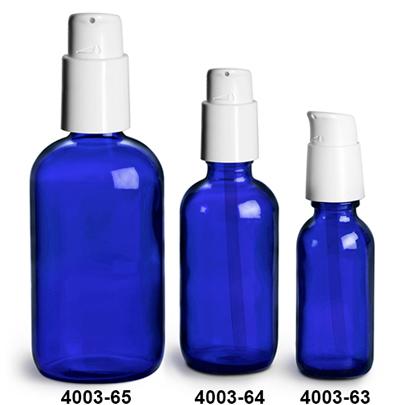 Glass Bottles, Blue Glass Boston Round Bottles w/ White Treatment Pumps