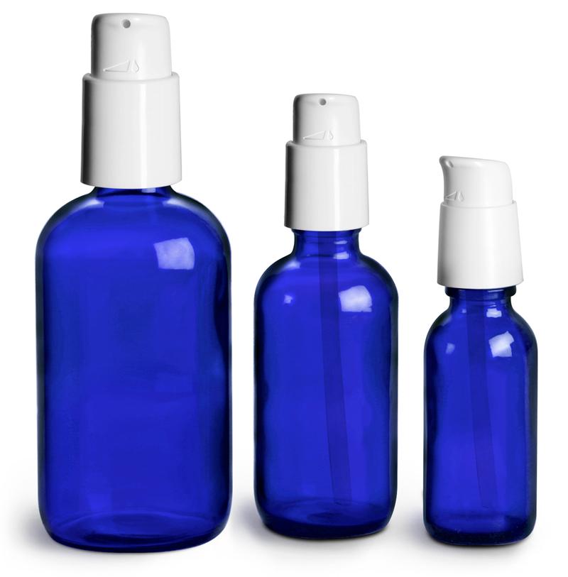 Blue Glass Boston Round Bottles w/ White Treatment Pumps