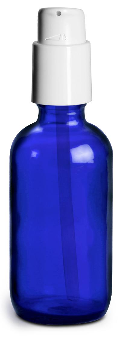 2 oz Blue Glass Boston Round Bottles w/ White Treatment Pumps