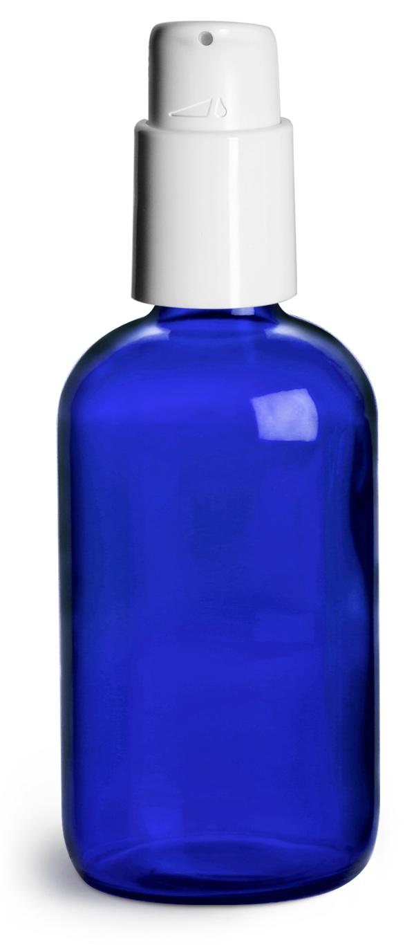 4 oz Blue Glass Boston Round Bottles w/ White Treatment Pumps