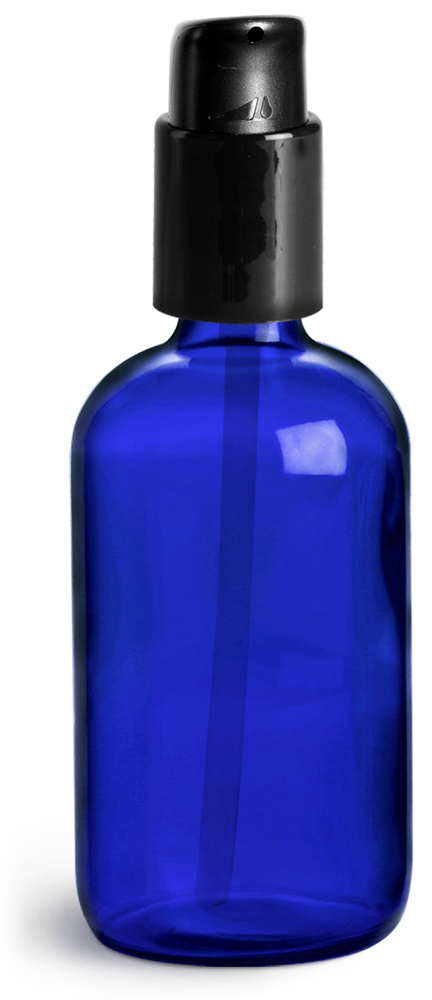 4 oz Blue Glass Boston Round Bottles w/ Black Treatment Pumps