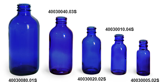 Glass Bottles, Blue Glass Boston Round Bottles (Bulk), Caps NOT Included