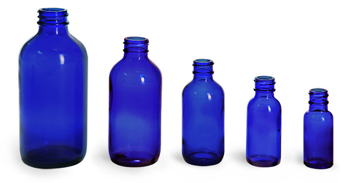 Blue Glass Bottles, Boston Round Bottles (Bulk), Caps NOT Included
