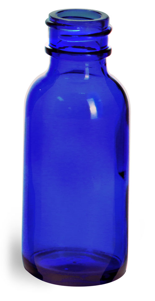1 oz        Blue Glass Boston Round Bottles (Bulk), Caps NOT Included