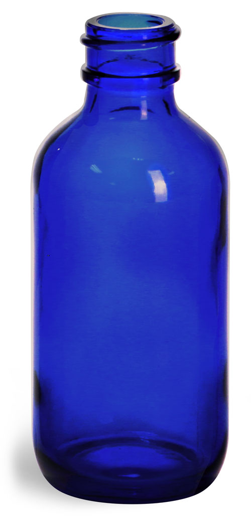 2 oz        Blue Glass Boston Round Bottles (Bulk), Caps NOT Included
