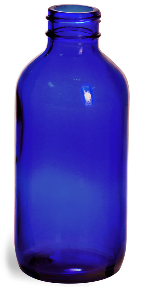 4 oz        Blue Glass Boston Round Bottles (Bulk), Caps NOT Included