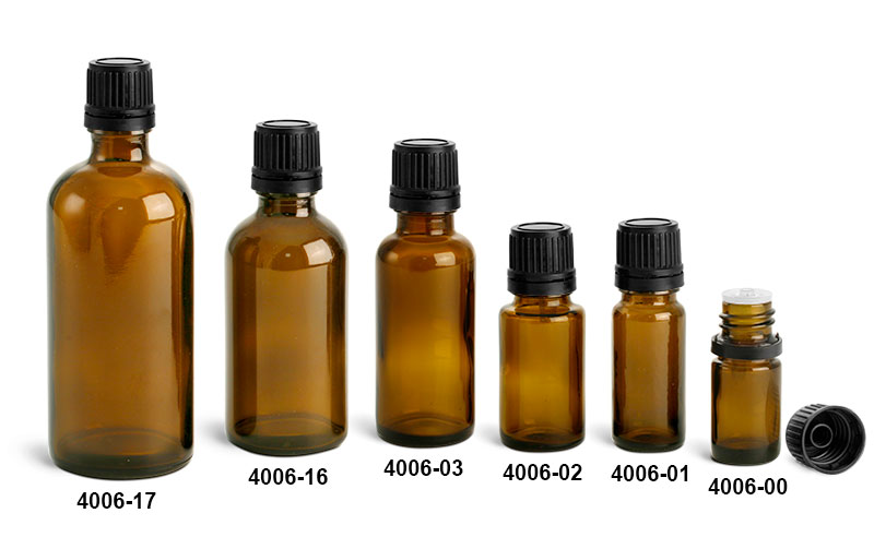 Glass Bottles, Amber Glass Euro Dropper Bottles w/ Black Tamper Evident Caps and Orifice Reducers