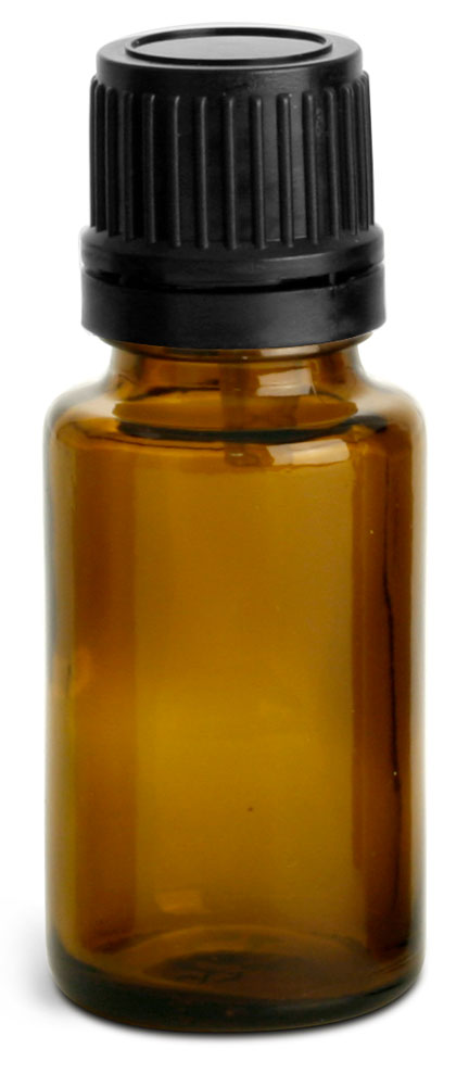 Amber Glass Euro Dropper Bottles w/ Black Tamper Evident Caps & Orifice Reducers