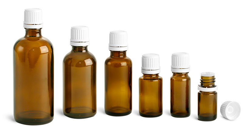 Amber Glass Bottles, Euro Dropper Bottles w/ White Tamper Evident Caps & Orifice Reducers