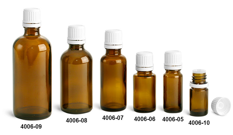 Glass Bottles, Amber Glass Euro Dropper Bottles w/ White Tamper Evident Caps and Orifice Reducers