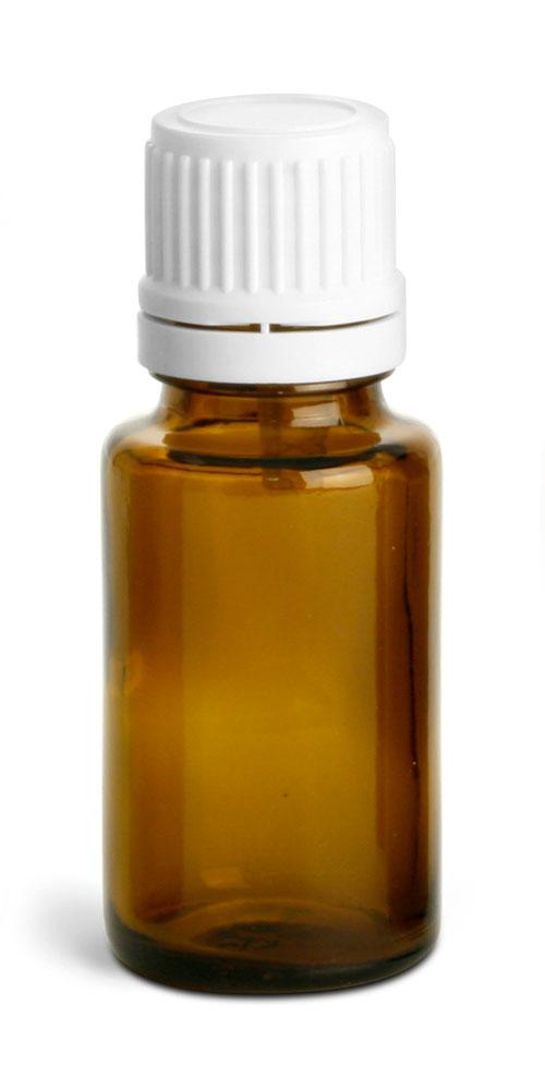 15 ml Amber Glass Euro Dropper Bottles w/ White Tamper Evident Caps & Orifice Reducers