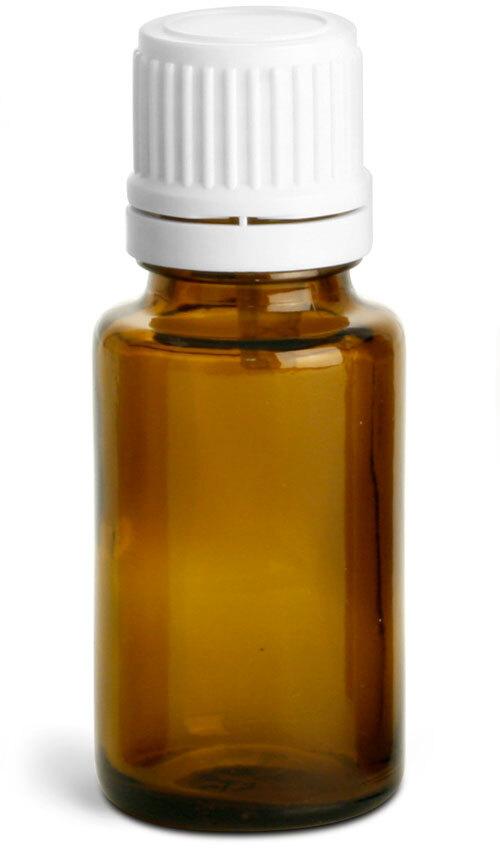 Amber Glass Euro Dropper Bottles w/ White Tamper Evident Caps & Orifice Reducers