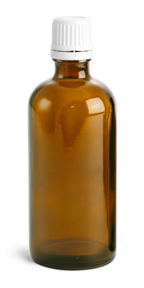 100 ml Amber Euro Dropper Bottles w/ White Tamper Evident Caps and Orifice Reducers