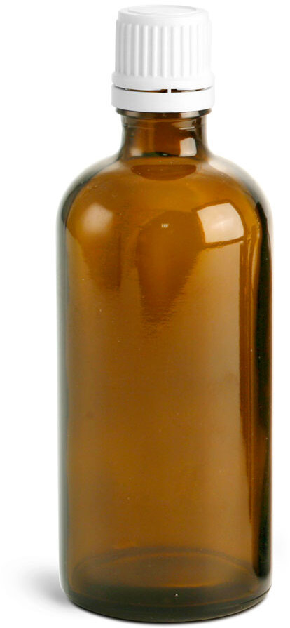 Amber Euro Dropper Bottles w/ White Tamper Evident Caps and Orifice Reducers