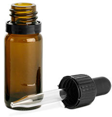 Amber Glass Round Bottles w/ Black Tamper Evident Glass Droppers