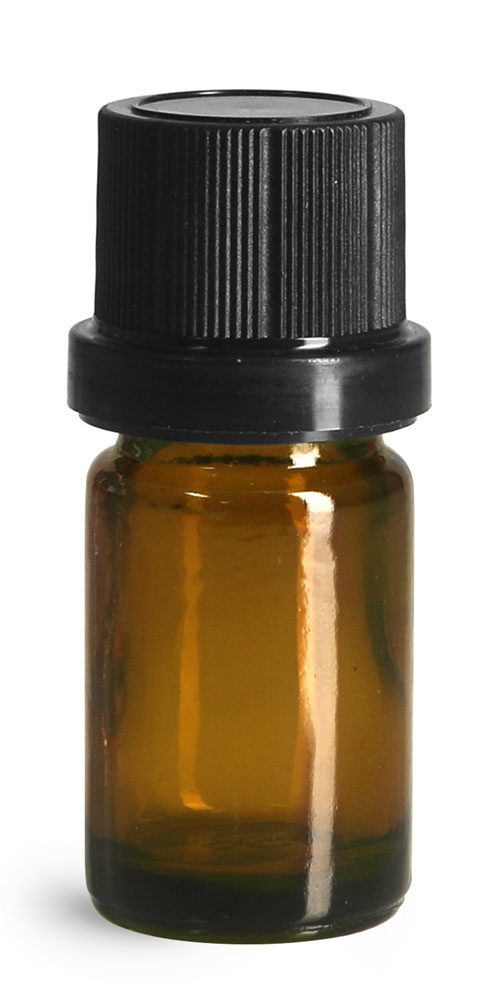5 ml Glass Bottles, Amber Glass Euro Dropper Bottles w/ Black Tamper Evident Caps and Dropper Inserts