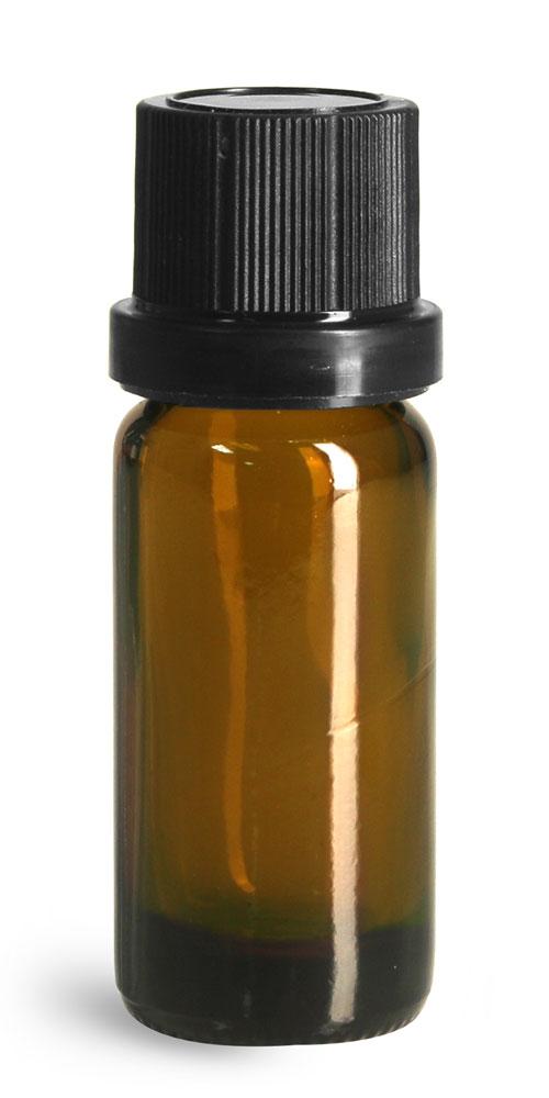 10 ml Glass Bottles, Amber Glass Euro Dropper Bottles w/ Black Tamper Evident Caps and Dropper Inserts